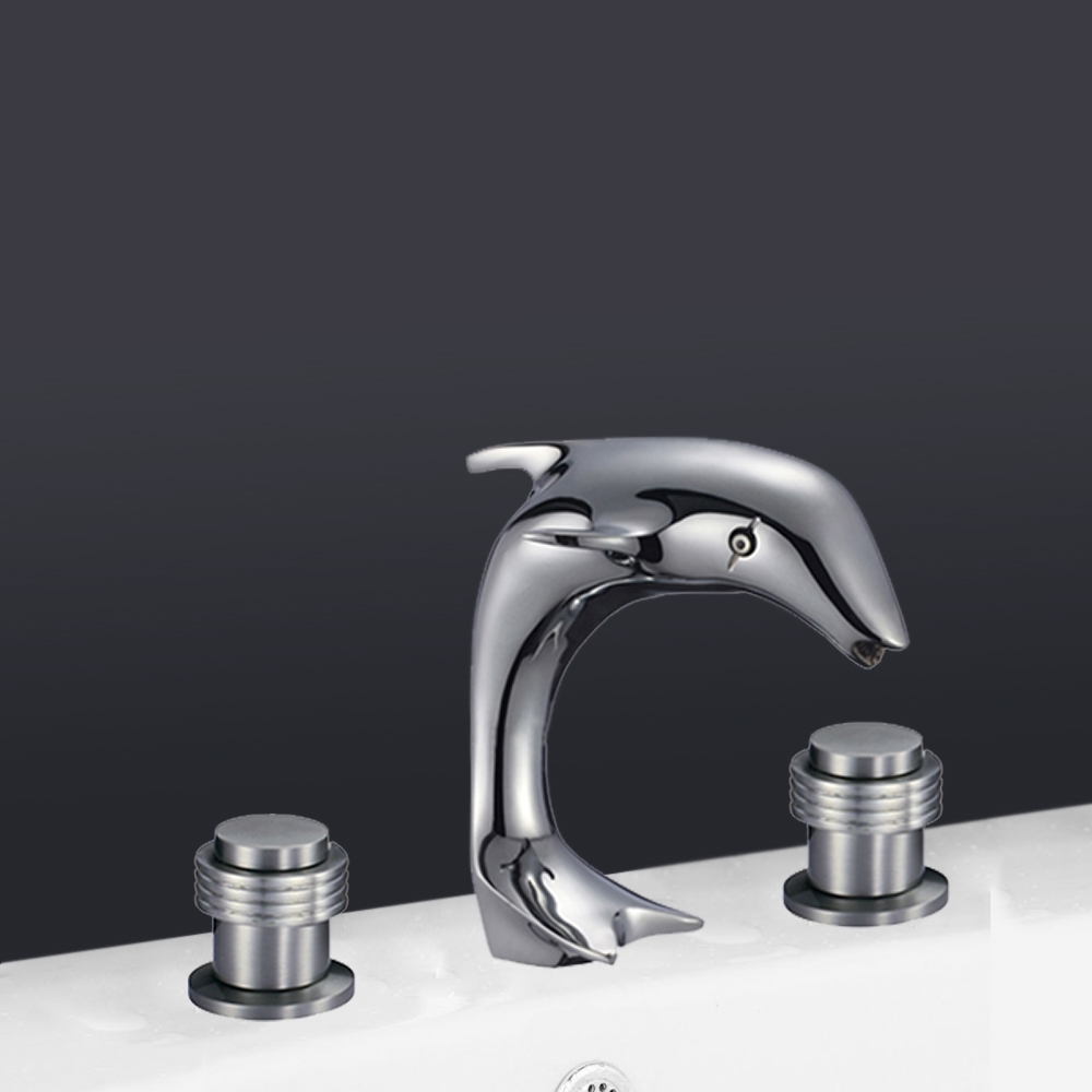 Delicieux Florence Dolphin Shaped Dual Handle Bathroom Sink Faucet