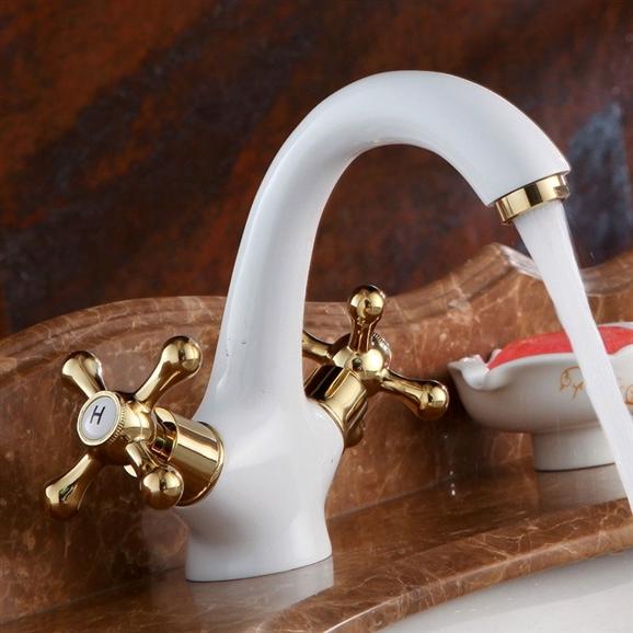 Shop Genoa Dual Handle White Bathroom Sink Faucet At Bathselect