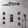 Black Sierra Multi Color Water Powered Led Shower with Adjustable Body Jets and Mixer-Wall Mount Style
