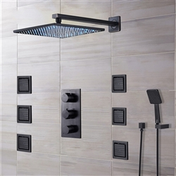 Black shower head multicolor led