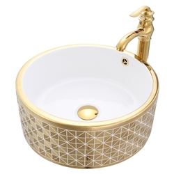 Florence Gold Round Ceramic Bathroom Sink with Faucet