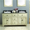 Lyon Antique White Double Vanity with Granite top & Sink