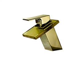 Gold Glass Deck Mounted Waterfall Bathroom Faucet