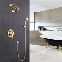 Rome Wall Mount Gold Shower Set