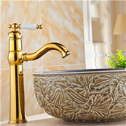 Naxos Gold Finish Tall Sink Faucet