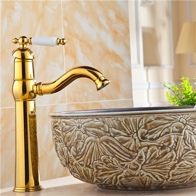 BathSelect Naxos Gold Finish Tall Sink Faucet with Hot & Cold Water Mixer