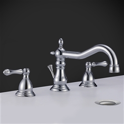 Rome Dual Handle Solid Brass Bathroom Sink Faucet with Drain