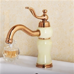 Quito Antique Gold and White Finish Faucet with Hot / Cold Water Mixer