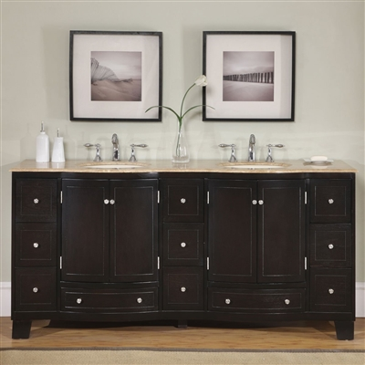 Naples Bathroom Vanity with Double Sink & Dual Cabinet