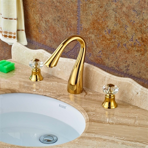 Shop Bathselect Paphos Gold Finish Bathroom Sink Faucet With Crystal Handle 5 Days Sale