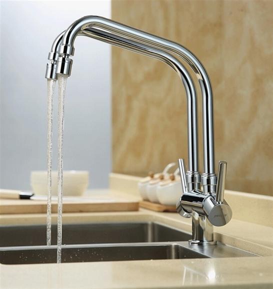 Shop Creteil Double Pipe Hot Cold Kitchen Sink Faucet One Time Coupon Sale