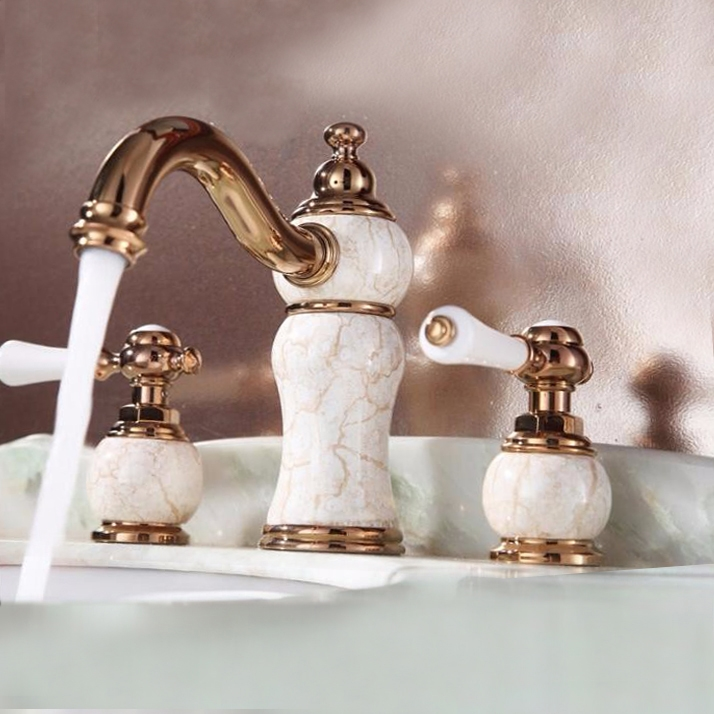 Shop Villeurbanne Widespread Rose Gold Bathroom Sink Faucet At - Gold faucets bathroom fixtures
