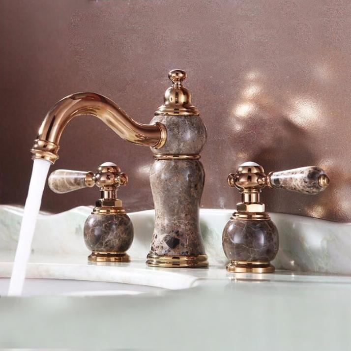 Saint-Denis WideSpread Rose Gold Bathroom Sink Faucet