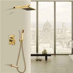 Naples Gold Wall Mount Rainfall Shower Head with Hand Shower & Tub spout