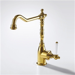 Naples Gold Finish Single Handled Kitchen Sink Faucet