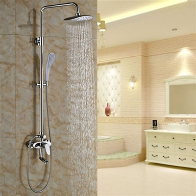 Genoa Wall Mount Chrome Shower Set with Hand Shower and Faucet