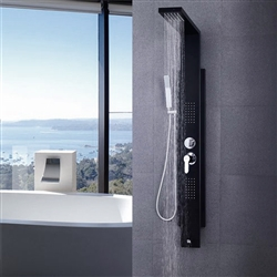 Sintra Stainless Steel Black Shower Panel System with Rainfall Shower & Body Massage Jets