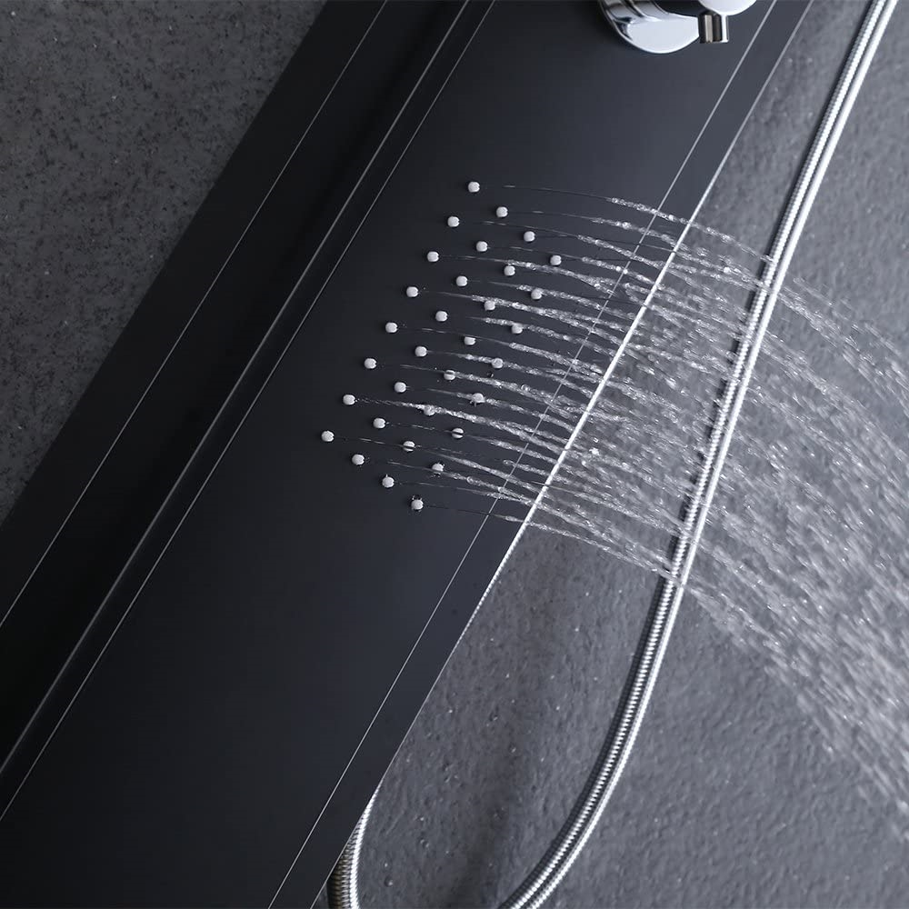 sintra stainless steel black shower panel system with rainfall shower u0026 body massage jets