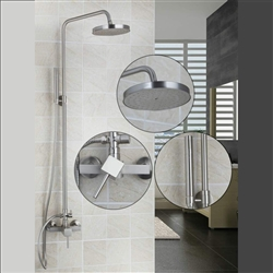 Milan Brushed Nickel Round Rainfall Shower Set