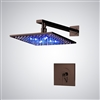 "Genoa 8"" Oil Rubbed Bronze Finish LED Shower Set with Hand Shower Brass Diverter"