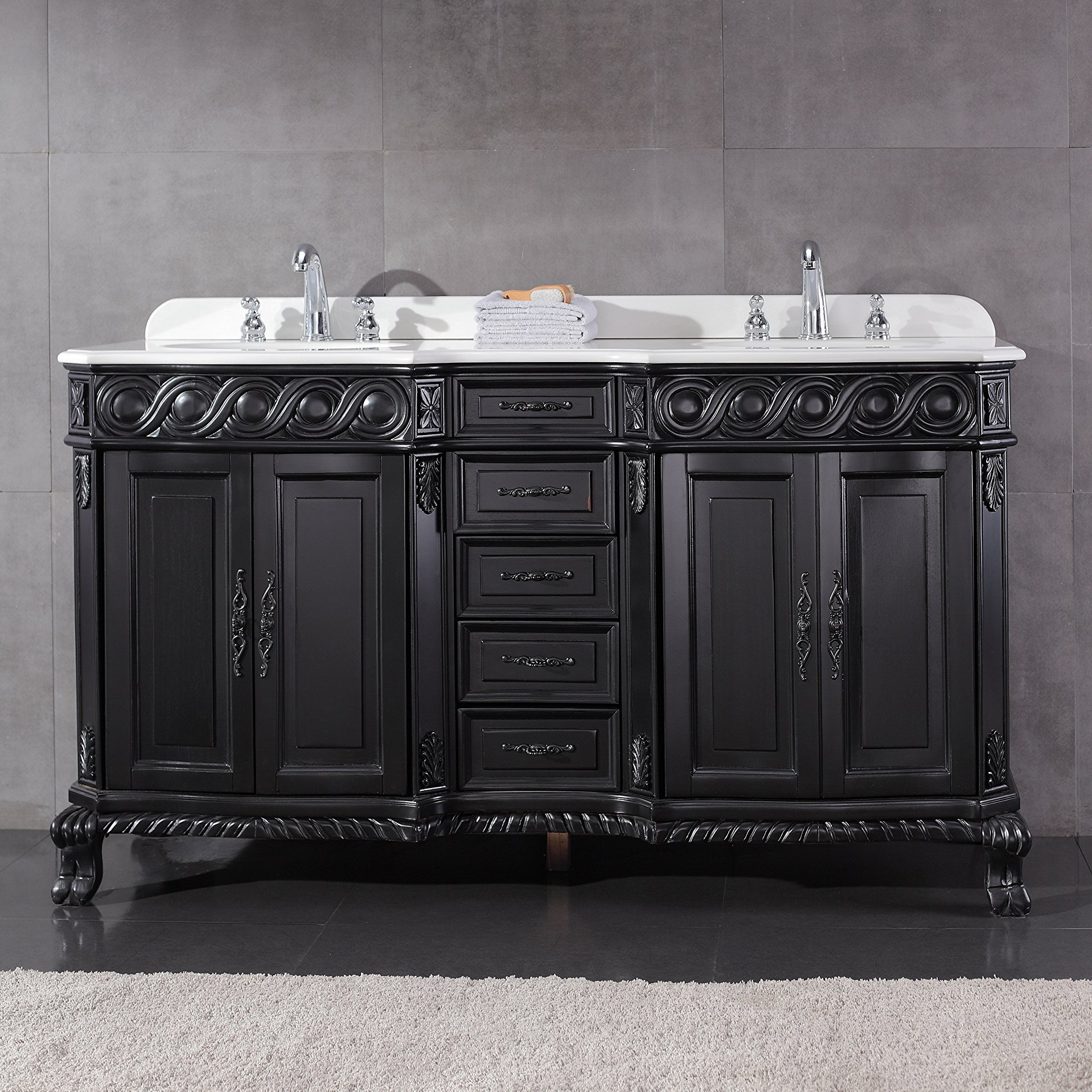 Genoa 60-Inch Antique Black Vanity with Marble Vanity Top & Sink - Shop Genoa 60-Inch Antique Black Vanity With Marble Vanity Top