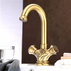 Naples Antique Brass Dual Handle Bathroom Faucet