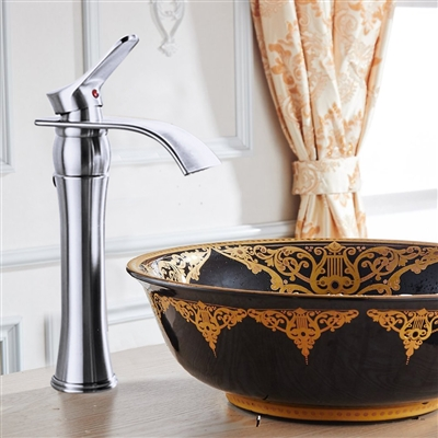 Valladolid Waterfall Bathroom Pop Out Sink Faucet with Drain