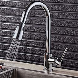 Brio Deck Mount Goose Neck Kitchen Sink Faucet Single Lever In Chrome Finish With Pull Out Sprayer