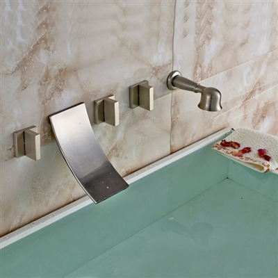 Wall Mount Waterfall Tub Faucet Brushed Nickel Finish With Triple Handle