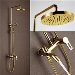 Gold Finish Rain Shower Head Set With Handheld Shower Head