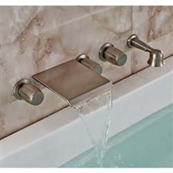 Wall Mount Brushed Nickel Waterfall Tub Mixer Tap with Brass Handheld Shower