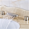Aiden Deck Mounted LED Bathroom Sink Faucet With Mixer  Brushed Nickel Finish