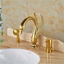 Gold-Finish-Swan-Single-Handle-Bathtub-Faucet-Mixer
