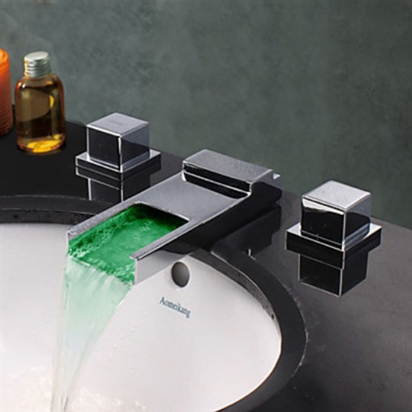 Arlon Led Widespread Waterfall Bathroom Sink Faucet