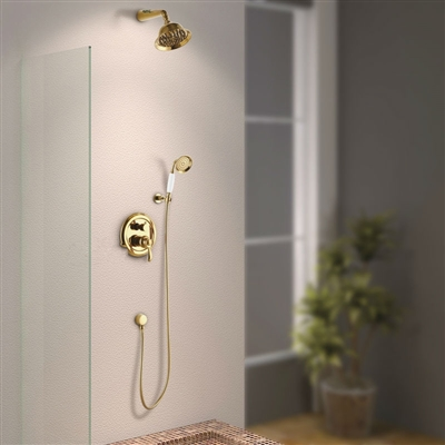 Luxury Gold Rain Shower Bathroom Shower Head with Hand-Held Shower