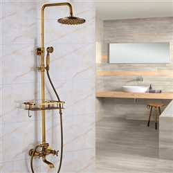 Classic Antique Brass 8 inches Bathroom Shower Set with Shelf