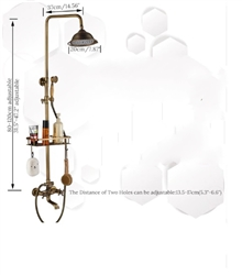 Stylish Antique Brass 8 inches Bathroom Shower Set with Shelf