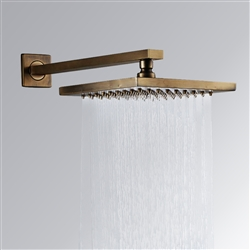 "BathSelect Ancient Square Antique Brass 8"" Rainfall Wall Shower Head"