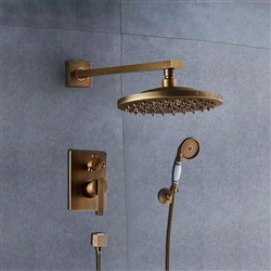 "BathSelect Ancient Round Antique Brass 8"" Rainfall Wall Shower Head with Hand-Held Shower"