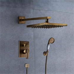 "BathSelect Ancient Square Antique Brass 8"" Rainfall Wall Shower Head with Hand-Held Shower"