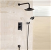 "Bathselect Round Oil-Rubbed Bronze 8"" Rainfall Wall Shower Head with Hand-Held Shower"