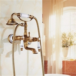 BathSelect Beautiful Ceramic Antique Brass Bathroom Faucet with Hand-Held Shower