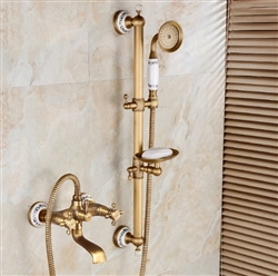 Bathselect Classic Antique Brass Bathroom Faucet with Hand-Held Shower