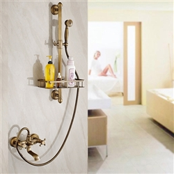 Bathselect Classic Antique Brass Bathroom Faucet with Hand-Held Shower & Soap Rack