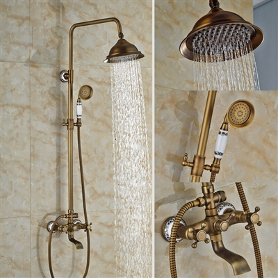"BathSelect Rain-Shower Antique Shower-Head 8"" with Faucet & Hand Shower"