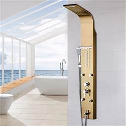 Bathselect Gold Multi Function Shower Panel Stainless Steel
