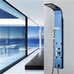BathSelect Blue Multi Function Shower Panel Stainless Steel