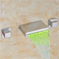 BathSelect Beautiful Waterfall LED Bathtub Faucet Wall Mount