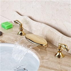 BathSelect Dual Handle Gold Finish Bathroom Faucet
