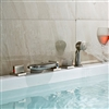 BathSelect Widespread Bathtub Brushed Nickel Faucet With Hand-Held Shower